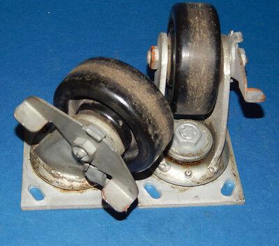 Lot Of 2 Caster Wheels Swivel Heavy Duty With Break Polyolefin 4x1-124.5