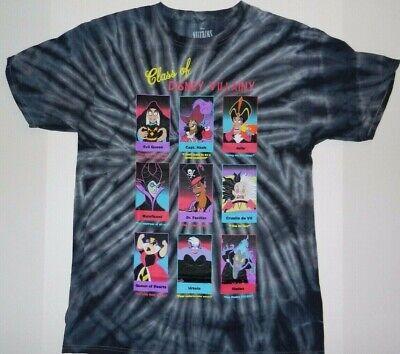 Disney Villains Class Yearbook Blue Tie-Dye T-Shirt New -