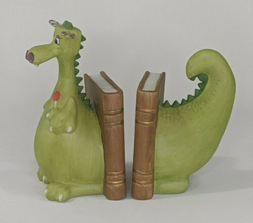 Green Vintage Dragon Bookends Porcelain Bisque : Enesco 1981 : Lorlipop Lollipop