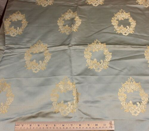"Antique French Ice Blue Silk Sample Fabric c1880~ Rose Wreaths~35""L X 53""L"