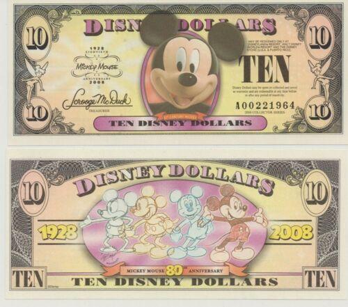"Disney 10 Dollars, 2008 Series ""A"" Mickey"