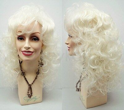 Curly Long Dolly Parton Style Wig Platinum Blonde Bangs Big Curls Drag 18