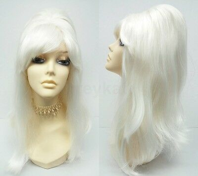 Platinum Blonde Beehive Wig Long Costume Sixties 60s Cosplay 17