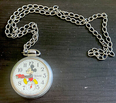 Vintage Mickey Mouse - Pocket Watch - Plastic & Metal - Bradley - Chain