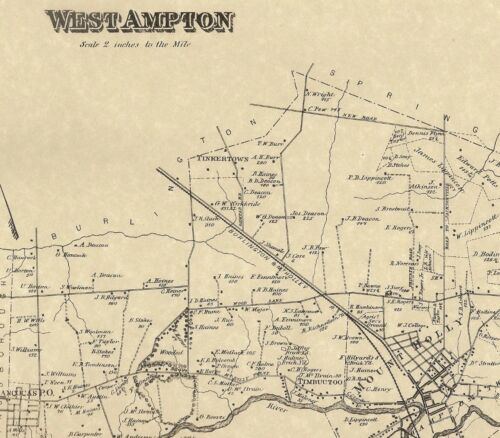 Westampton Mount Holly Rancocas Timbuctoo NJ 1876  Maps Homeowners Names Shown