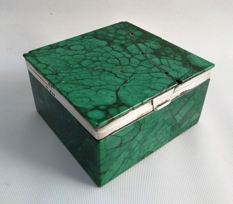 Vtg 1926 C.B & Sons Art Deco Solid Silver & Green Malachite Cigarette Box Case
