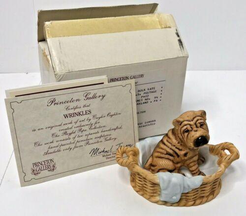Princeton Gallery 1991 Wrinkles Playful Pups Porcelain Sharpei Basket Dog Figure