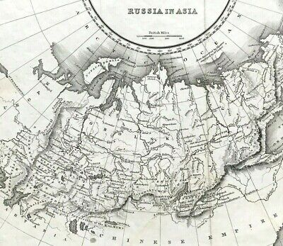 Map of RUSSIA IN ASIA by Fullerton c1820 Original engraved copperplate