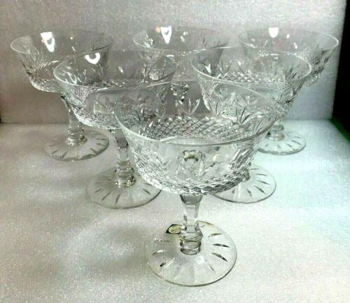 """VINTAGE LENOX Revelry saucer champagne sherbet Cut Crystal 5 1/4"""" SET 6 (8 oz)"""