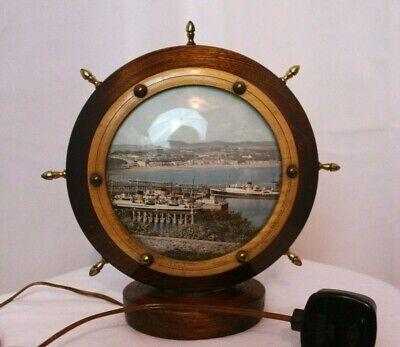 Fabulous Vintage 50s kitsch lamp, Ships wheel, Holiday souvenir, wooden treen,