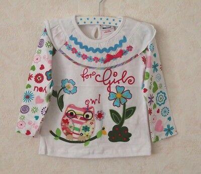 Gr. 92-116 NEAT Mädchen Owl Eule Uhu Blumen weiß LA Shirt Muster Print