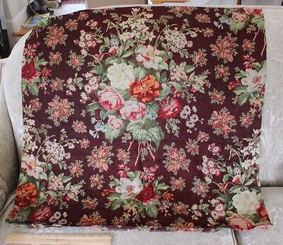 Rare Large Scale French Antique Wool Chalis Floral Fabric Textile c1860~