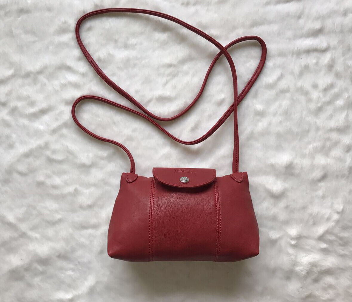 Longchamp Le Pliage Cuir Leather Crossbody Bag Red Lacquer ...