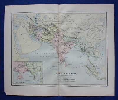 Original antique map 'PERSIA ET INDIA', 'INDIA PTOLOMAEI', Johnston, c.1864