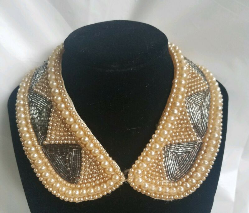 Antique PEARL & SILVER GLASS TUBE BEADED COLLAR NECKLACE MADE JAPAN Art Deco