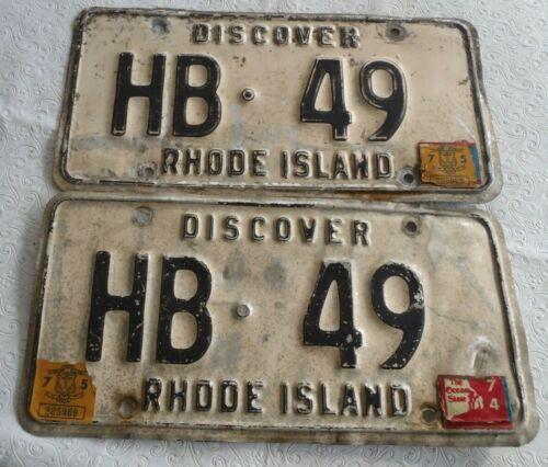 1974-75 Rhode Island License plate pair HB 49