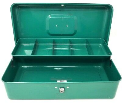 Vintage Mid Century TEAL GREEN Metal Tool Fishing Box w/Tray MCM Sears 13.5