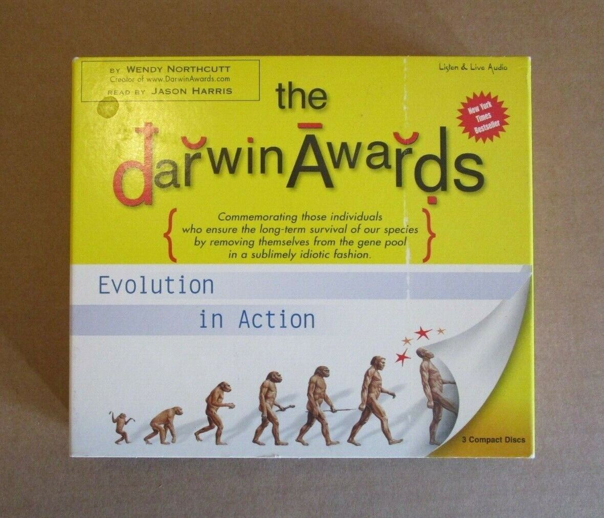The Darwin Awards One By Wendy Northcutt Audio Book 3 CDs 2001 - $5.00