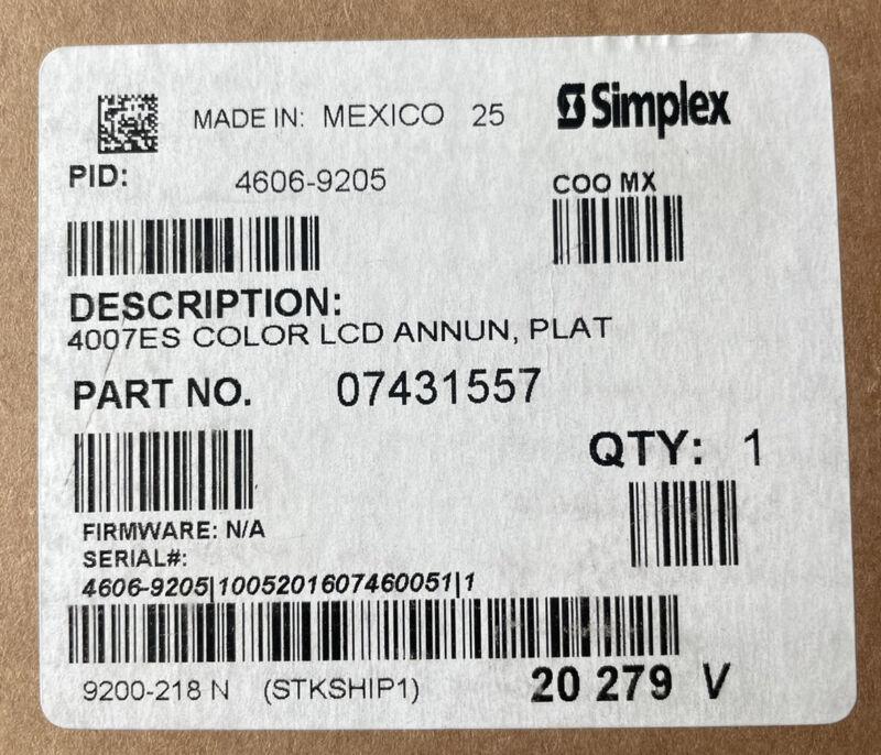 Simplex 4606-9205 - 4007ES LCD Annunciator Platinum Fire Alarm