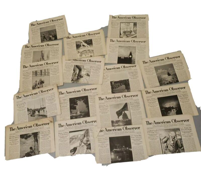 16 papers THE AMERICAN OBSERVER Newspaper 1941 (varied dates Jan thru May 1941)