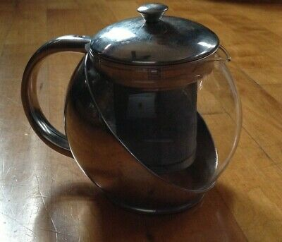 24 Oz Glass Teapot ( Glass Teapot Style Tea  Decanter Kettle For Loose Leaf Tea 24 OZ / 3 Cups  )