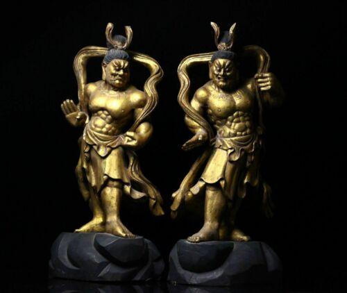 "Nio Kongorikishi Deva king Agyo & Ungyo Large Wooden Statue 26"" from a Temple"