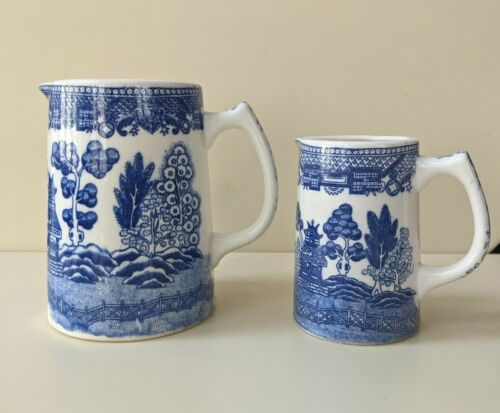Early Japan Blue Willow Set of 2 Small Pitchers, 1930