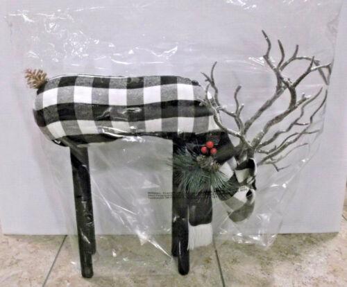 """Buffalo Check Christmas Standing 16"""" Reindeer Cloth Decor New Never Used"""