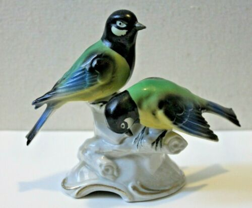 VINTAGE HAND PAINTED ERPHILA PORCELAIN TWO BIRDS FIGURINE WEST GERMANY