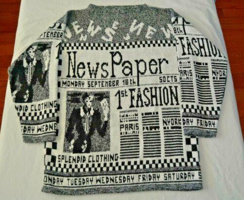 Vintage Newspaper All Over Print Adele Knitwear Sweater - WOMEN