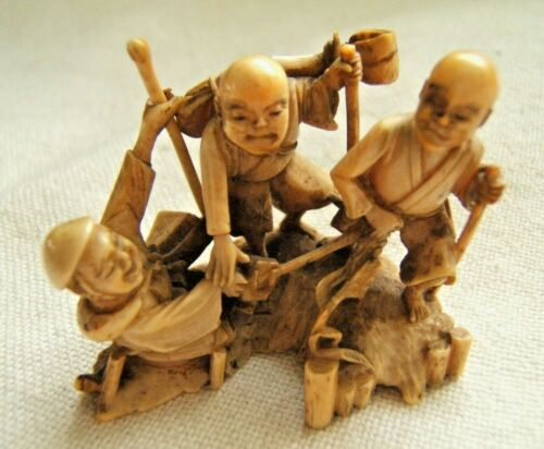 JAPANESE MEJI PERIOD CARVED NETSUKE LARGE 3 FIGURES SIGNED