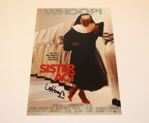 ACTRESS WHOOPI GOLDBERG SIGNED 'SISTER ACT' 12x18 MOVIE POSTER w/COA EGOT
