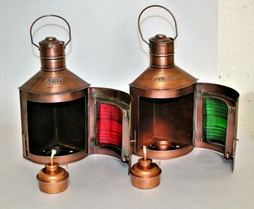 Antique Brass Finish Port & Starboard Lanterns Nautical Oil Lamps Ship Light