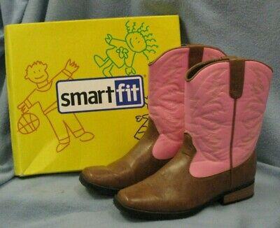 Smart Fit Cowboy Western Boots ~  Pink/Tan ~ Girls Size 2 1/2 (EUR 34 1/2) ~ EUC