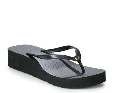 TORY BURCH Black Wedge Flip Flops Platform Size 7 Retail $70