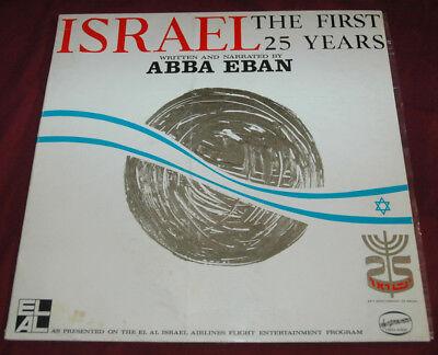 ISRAEL The First 25 Years ABBA EBAN Rare Israeli Lp Story SONGS Folk ANNIVERSARY