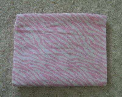 - Pink White Zebra Stripe Print Baby Blanket Flannel Receiving Lovey Animal