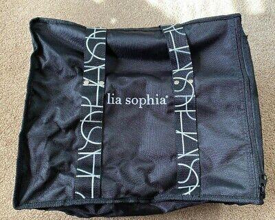 Lia Sophia Jewelry Travel Display Case Sales Bag Tote Black White Zip Euc