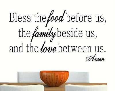 Bless The Food Family Love Vinyl Wall Art Decal Decor Lettering Words Quote