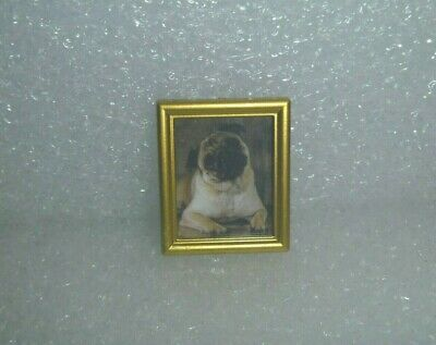 Cute Little Pug Dog in A Gold Frame For Barbie, or Doll House or ?