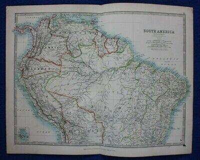 Original antique map SOUTH AMERICA, COLOMBIA, VENEZUELA, PERU, Johnston, 1896