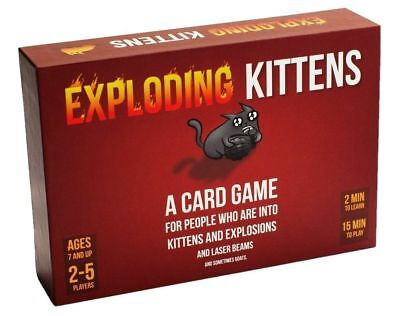 Red Box Exploding Kittens Explosions Card Game Birthday  Gift