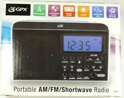 Portable 6-Band Shortwave AM/FM Radio with built-in Speaker & Clock, GPX R616W