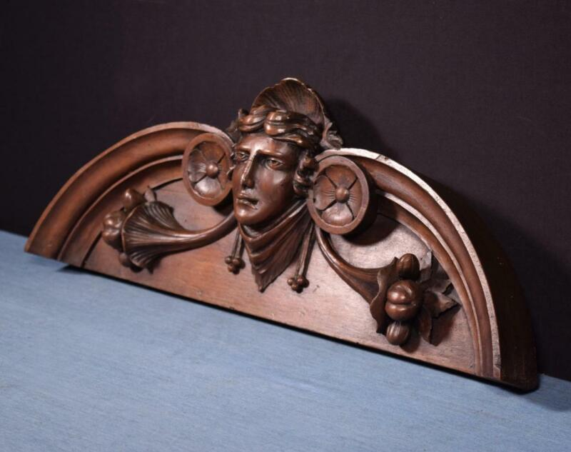 """*21"""" French Antique Pediment/Crest in Solid Walnut and Pine Wood with Face"""
