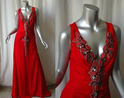 Carolina Herrera Rot Kristall Jeweled Lang Kleid 6 Jeweled Kleid