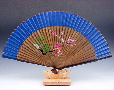 Hermoso Plum Blossoms Plegables Ventilador Mano Decoración de Pared W/ Soporte #