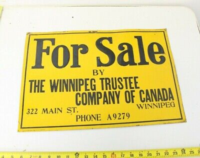 Antique Painted Tin Metal Sign For Sale Winnipeg Trustee Company Canada Vintage