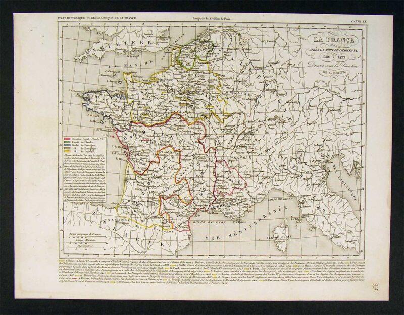 1841 Houze Map - France after Charles VI  1380-1422