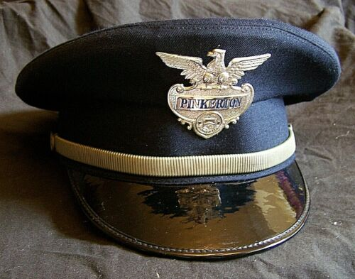 VINTAGE PINKERTON SECURITY~ROUND UNIFORM DRESS HAT AND BADGE, SILVERTONE EAGLE