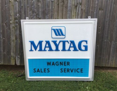 Vintage Maytag Sales Service Wagner Repairman Double Sided Lighted Hanging Sign